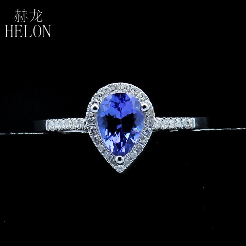 HELON Hot sale Lady Jewelry Ring 1.1ct Tanzanite & Natural Diamonds Solid 14k White Gold Wedding Engagement Ring Beautiful ring new pure au750 rose gold love ring lucky cute letter ring 1 13 1 23g hot sale