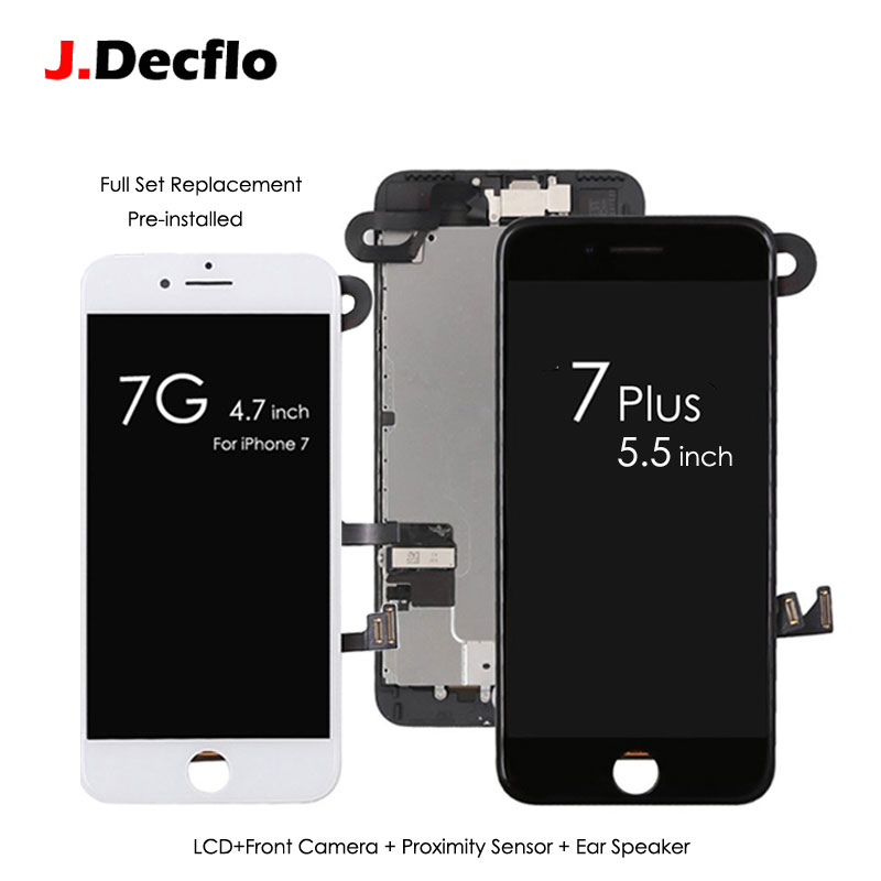 Pour iPhone 7 7 Plus Écran Remplacement Ensemble Complet LCD Écran Tactile Digitizer Cadre Assemblée + Appareil-Photo Avant et Capteur + oreille Haut-Parleur