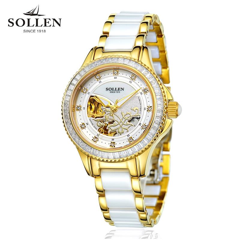лучшая цена Relogios Femininos SOLLEN genuine ladies watch fashion waterproof clock automatic mechanical watch female hollow female watch