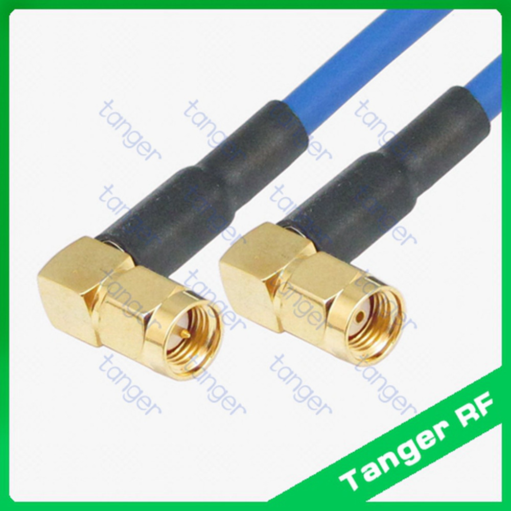 Double right angle SMA to RP-SMA male with RG402 RG141 RG-402 Blue Coaxial Jumper Semi Flex cable 20inch 50cm Low Loss CableDouble right angle SMA to RP-SMA male with RG402 RG141 RG-402 Blue Coaxial Jumper Semi Flex cable 20inch 50cm Low Loss Cable