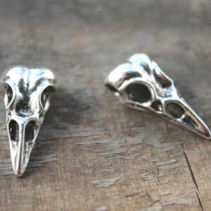 Bird Head Skull Design Gothic Charms For Jewelry Making Bracelet Necklace Earrings Keychain Antique Silver Plated Charms Beads
