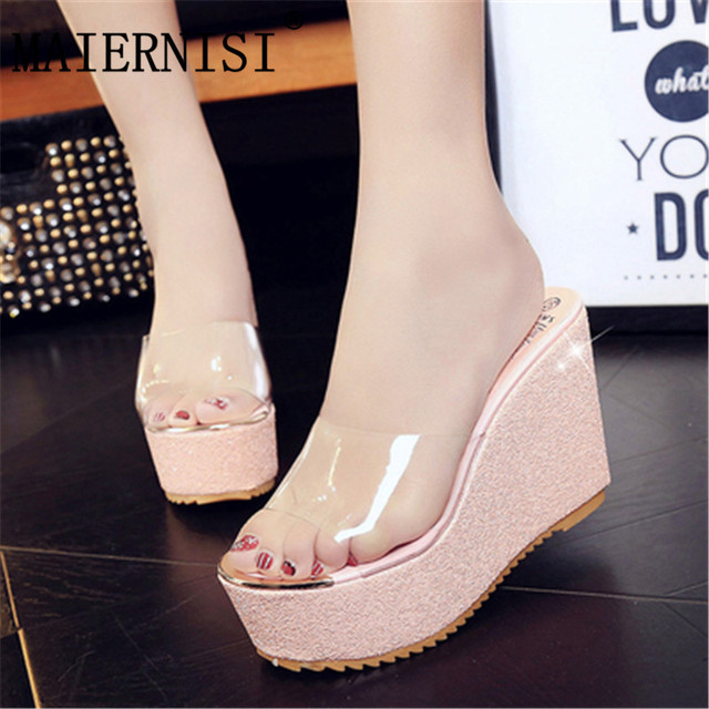 bc9da716390e41 woman glitter platform sandals women brand designer star rivets flip flops  2019 summer wedges shoes silver gold