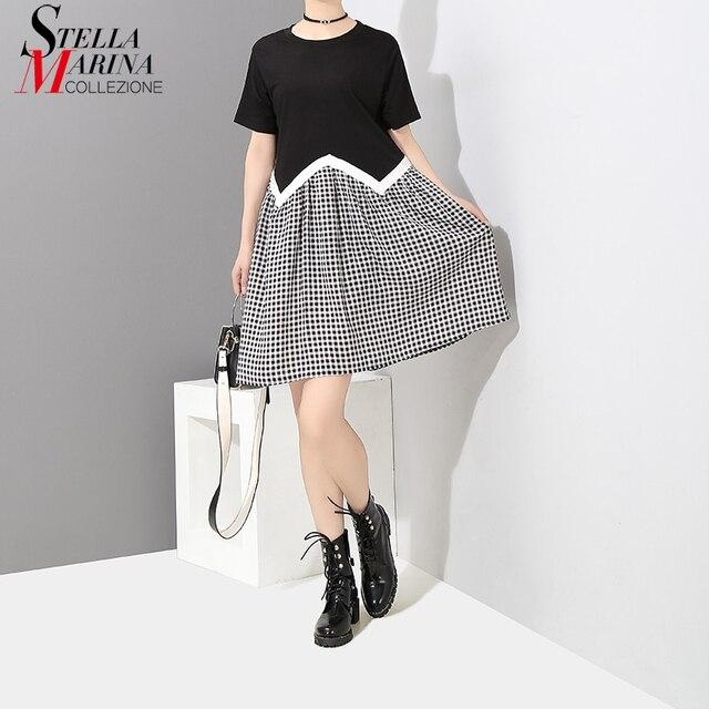 2018 Korean Style Black White Plaid T-shirt Dress Short Sleeve Knee Length Girls  Stylish Patchwork Loose Dress Robe Femme 7109 918af67c717f