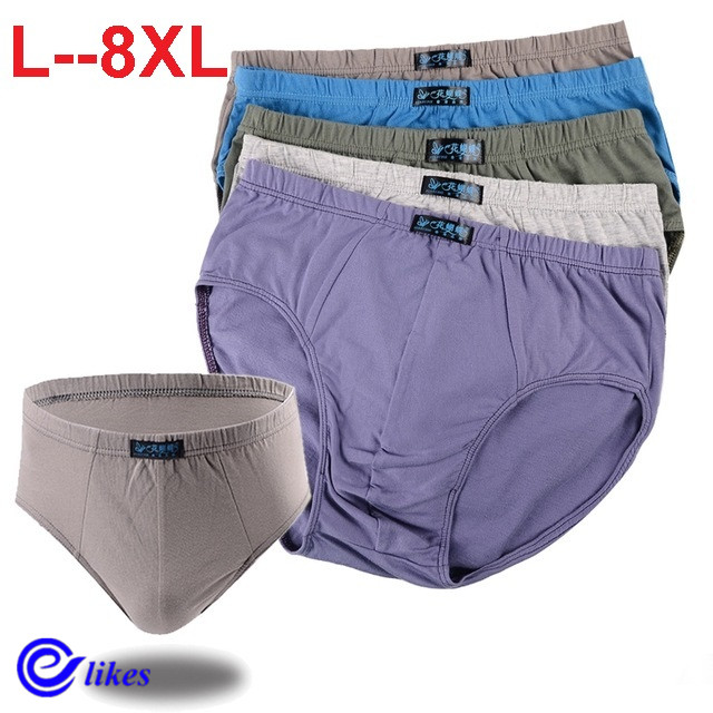 5pcs/lot Big pluz size 100% Cotton Briefs Men's Comfortable Underpants Underwear L/XL/2XL/3XL/4XL/5XL/6XL/7XL/8XL(China)