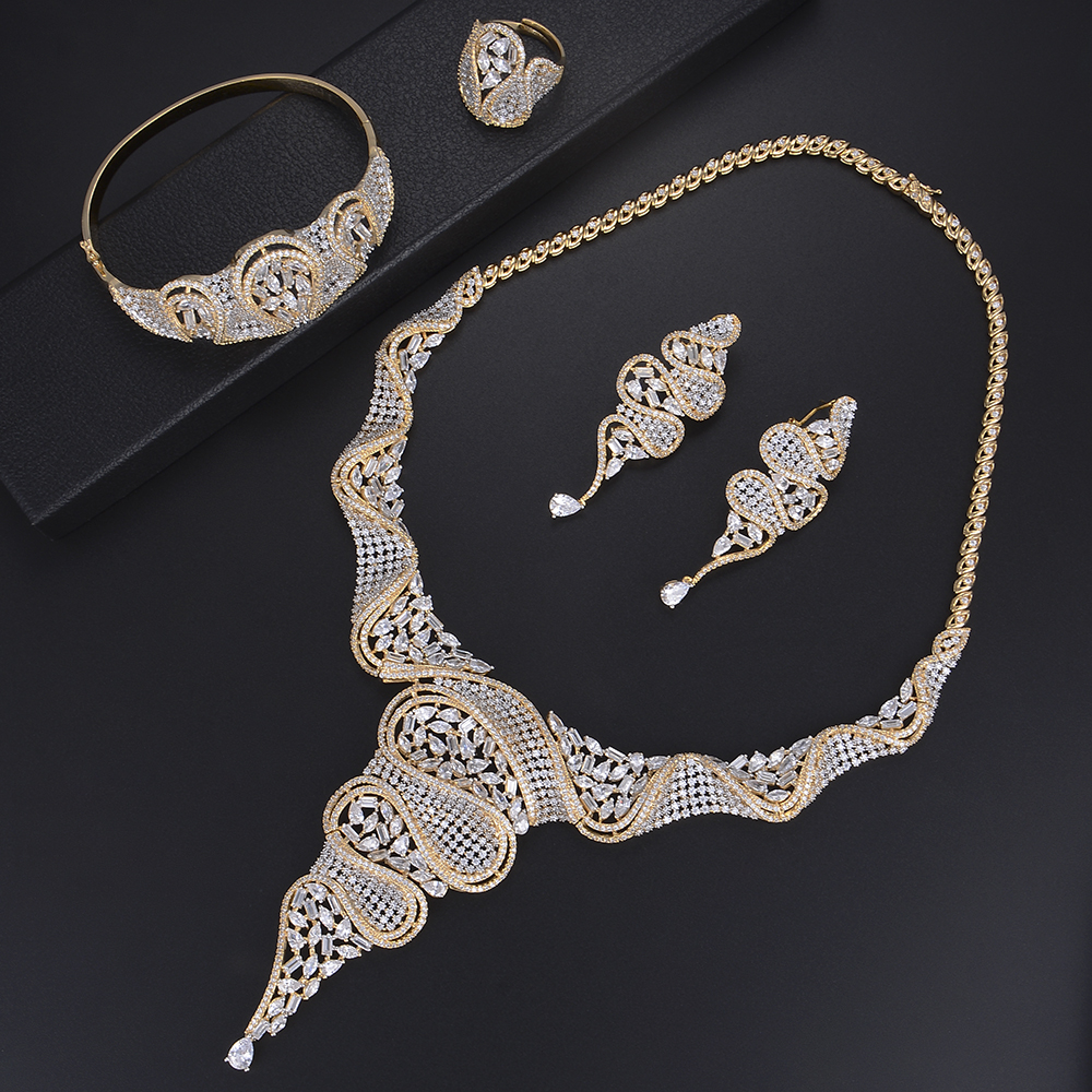 Luxury Wedding Jewelry Sets Hollow Rings Necklace Bracelet Earrings Sets Micro Cubic Zirconia For Women Wedding a suit of stylish rhinestone hollow out heart oval necklace bracelet ring and earrings for women