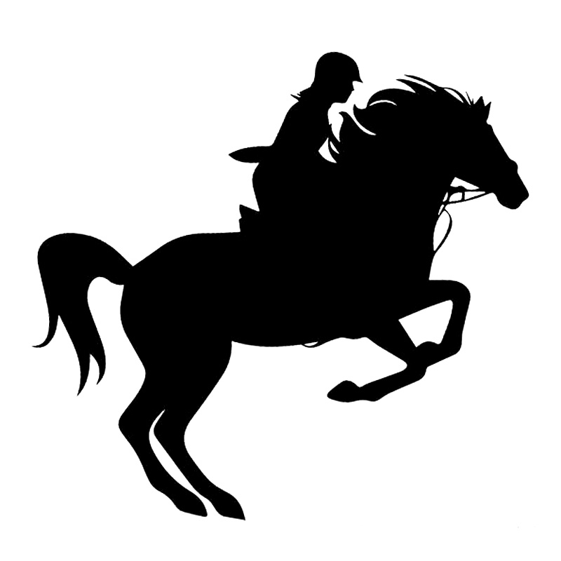 14.7cm*13.8cm Riding Horse Sport Vinyl Car-Styling Decor Car Sticker Black/Silver S3-6400 hot sale 1pc longhorn hilux 900mm graphic vinyl sticker for toyota hilux decals badges detailing sticker car styling accessories