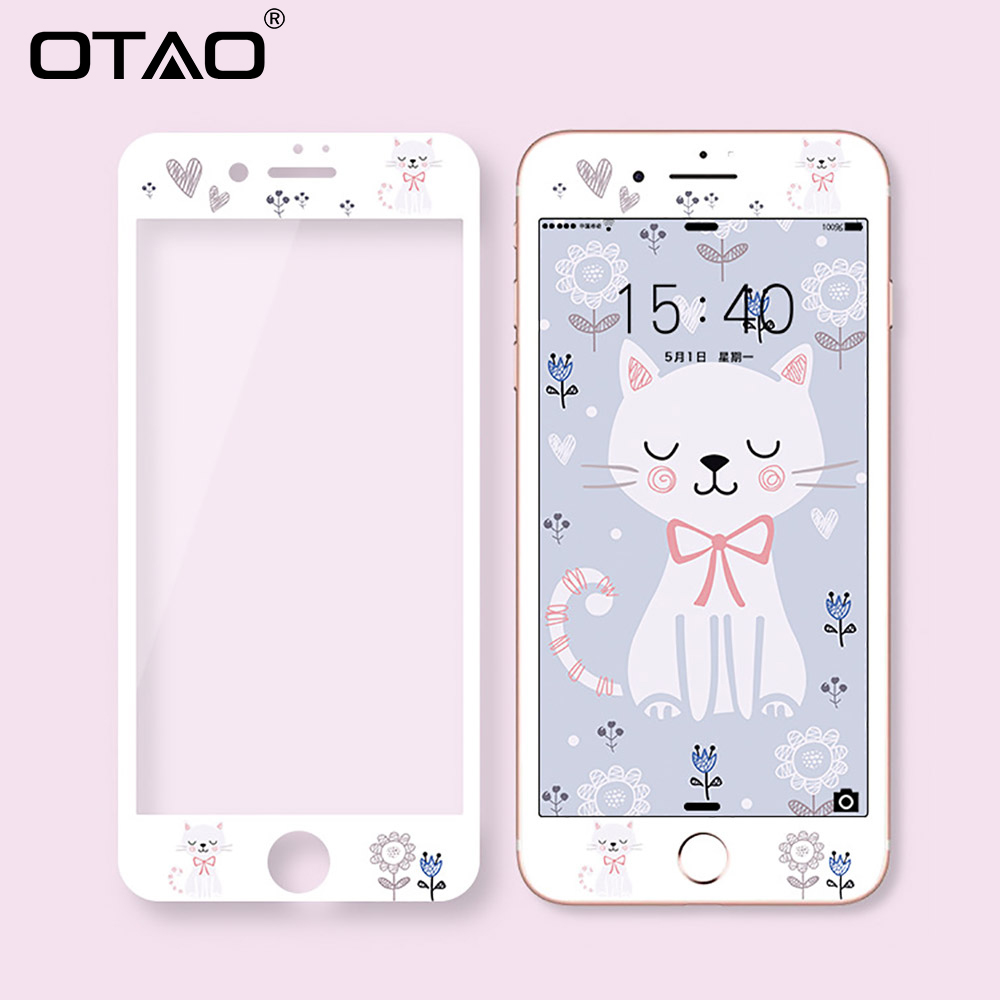 OTAO New 3D Full Cover Tempered Glass For IPhone 8 7 Plus Soft Edge Colorful 9H Screen Protector Shockproof HD Protective Film