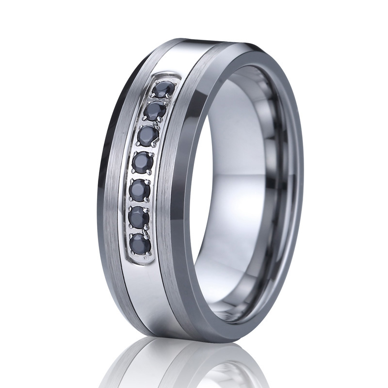 Mens Tungsten Wedding Bands Jewelry Rings Men White Black Blue cubic zirconia stones Engagement Wedding Rings for Women