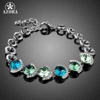 AZORA Genuine Colorful Austrian Crystal Platinum Plated Charm Bracelets For Women Valentine S Gifts Fashion Jewelry
