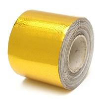 MTGATHER 9mx5cm Roll Adhesive Reflective Gold High Temperature Heat Shield Wrap Tape Flame Retardant Anticorrosive