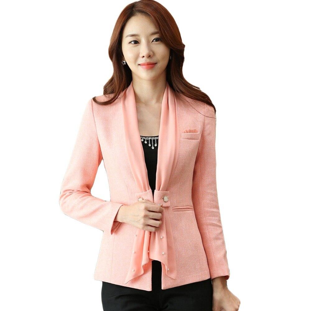 Jacket Office Blazer Coat Elegant Work-Wear Business-Wear Long-Sleeve Female Formal Plus-Size