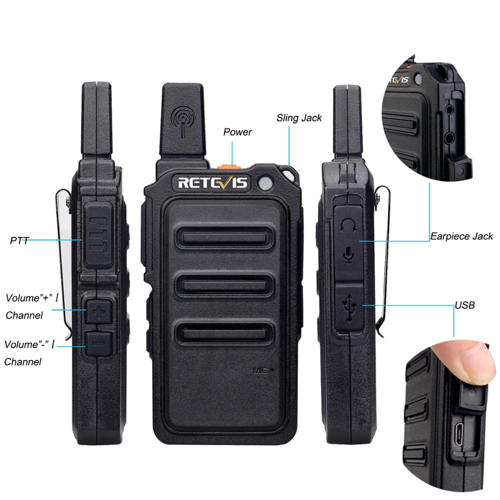 2pcs Retevis RT619 Mini Walkie Talkie Radio Station Scrambler Ultrathin fuselage Two Way Radio Portable PMR446 FRS VOX USB in Walkie Talkie from Cellphones Telecommunications