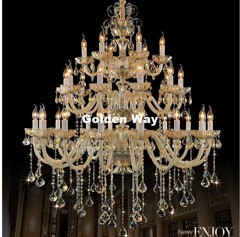 Lustre d'hôtel européen de luxe moderne E14 LED Lustre en Cristal de Lustre de Cognac rétro