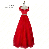 Real Photos Red Tulle Fabric Beading Handmade Ball Gown Mantle Formal Evening Long Dresses prom OL102777