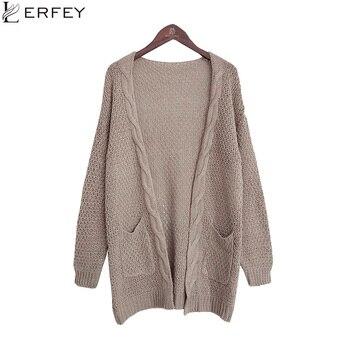 Chaqueta de punto de manga larga para mujer, suéter de punto, suéter de otoño, jerséis con bolsillos, Poncho tejido Casual, cárdigan de talla grande