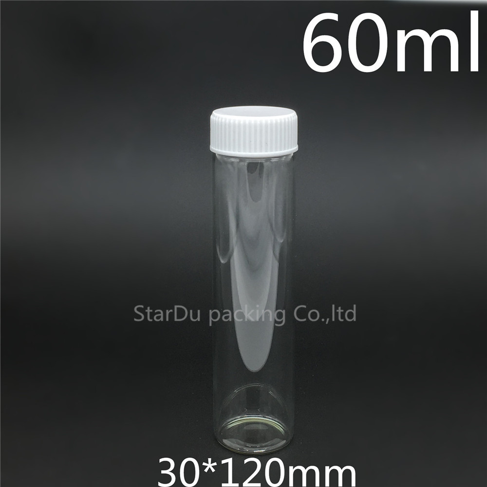 Free shipping 200pcs 30*120mm 60ml screw neck glass bottle with Plastic cap for vinegar or alcohol,carft/storage candy bottle free shipping 60ml 20 50pcs lot transparent pet medicine refillable bottle capsules liquid packing bottle with white screw cap