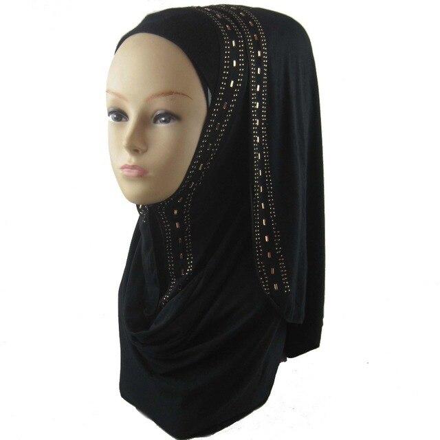 One Piece Женщины Шарф Мусульманских Исламской Горный Хрусталь Хиджаб Арабские Головные Уборы Длинные Хиджабы Шарф Реального Шаль 170*50 см бесплатная Доставка