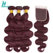 Peruvian Hair Bundles With Closure 99J Body Wave Bundles With Closure Non Remy Human Hair Bundles