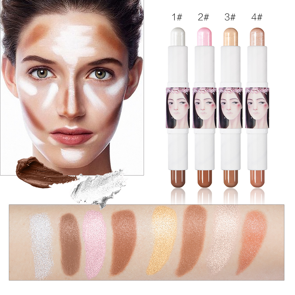 HUAMIANLI Professional Shading Powder Women 4 Colors Make Up Glitter Shimmer Brighten Two Header Face Highlighter Foundation ...