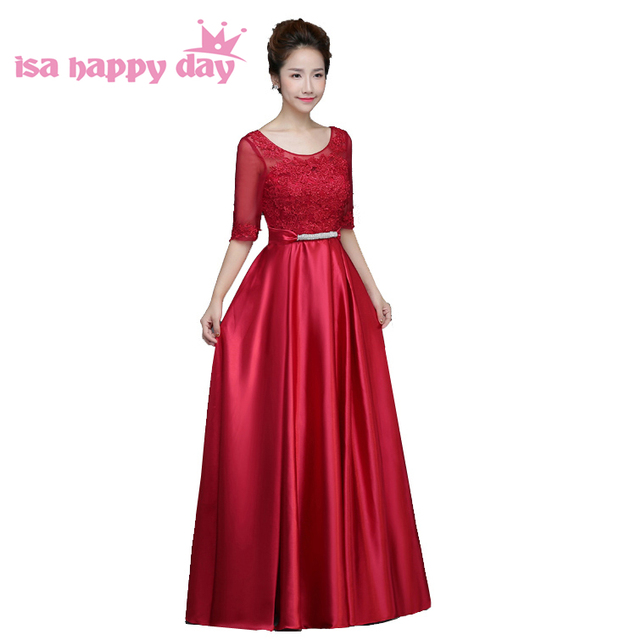 5544ae52ee pretty modest bridesmaid satin dress sexy long women bridemaids occasional dresses  red with lace sleeves under 100 H3769