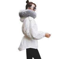 Parkas 2017 New Down Duck Jacket Coat Women Winter Mid long Big Real Fur Collar Hooded Thick Jackets Coat FP0119