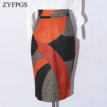 ZYFPGS 2019 Autumn Hot Hip skirt Geometric pattern stitching Fashion Casual Female Skirt  Cute Ladies Printing Pattern Z0928