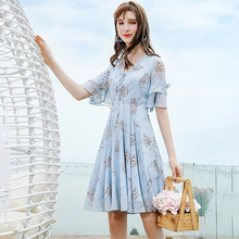 AcFirst Summer Women Blue Chiffon A-Line Dress V Neck Printed Party Holiday Ruffles Lady Sexy Plus Size Sweet Dresses