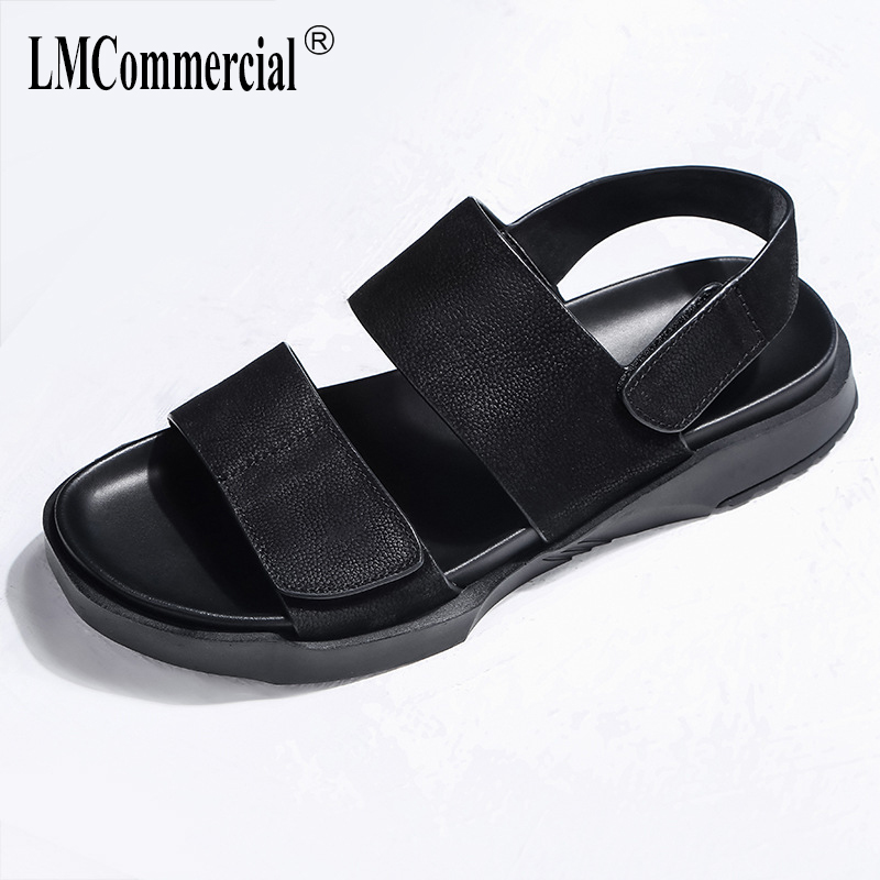 Retro summer Genuine Leather mens sandals Sneakers Men Slippers Flip Flops casual Shoes beach outdoor all-match cowhide male
