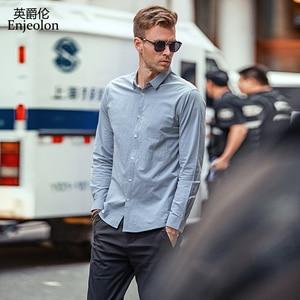 Image 2 - Enjeolon marka sonbahar Camisa Masculina pamuk gömlekler erkekler katı gömlek erkek 3XL bluz uzun kollu gömlek erkekler için CX2517 1
