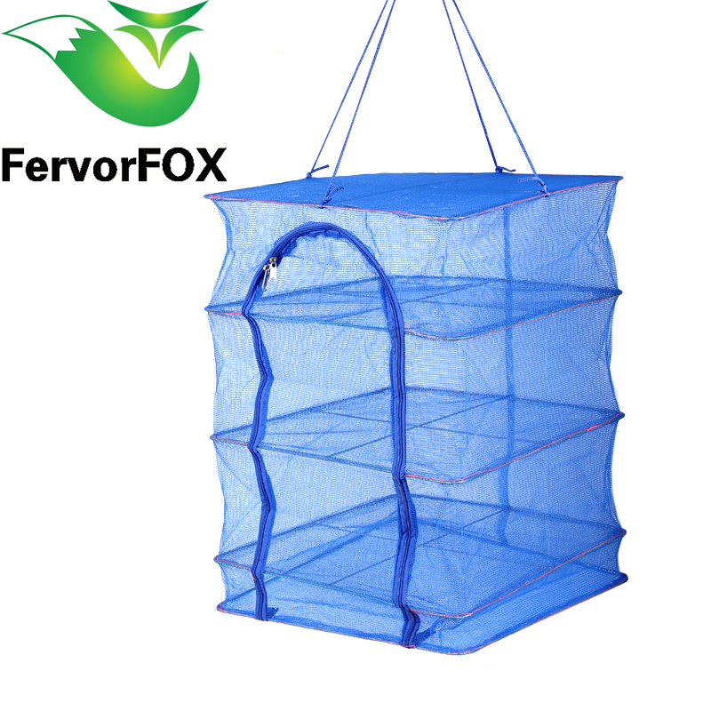 Foldable 4 Layers Drying Net Fish Net Drying Rack Hanging Vegetable Fish Dishes Dryer Net 40 x 40 x 68cm PE Hanger Fish Net