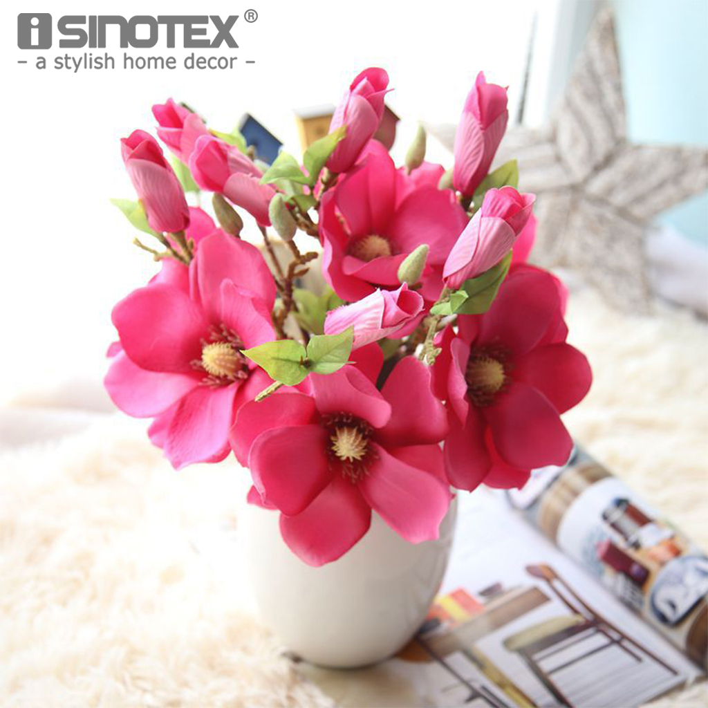 buy artificial flowers diy silk decorative flowers fake flower magnolia bouquet. Black Bedroom Furniture Sets. Home Design Ideas