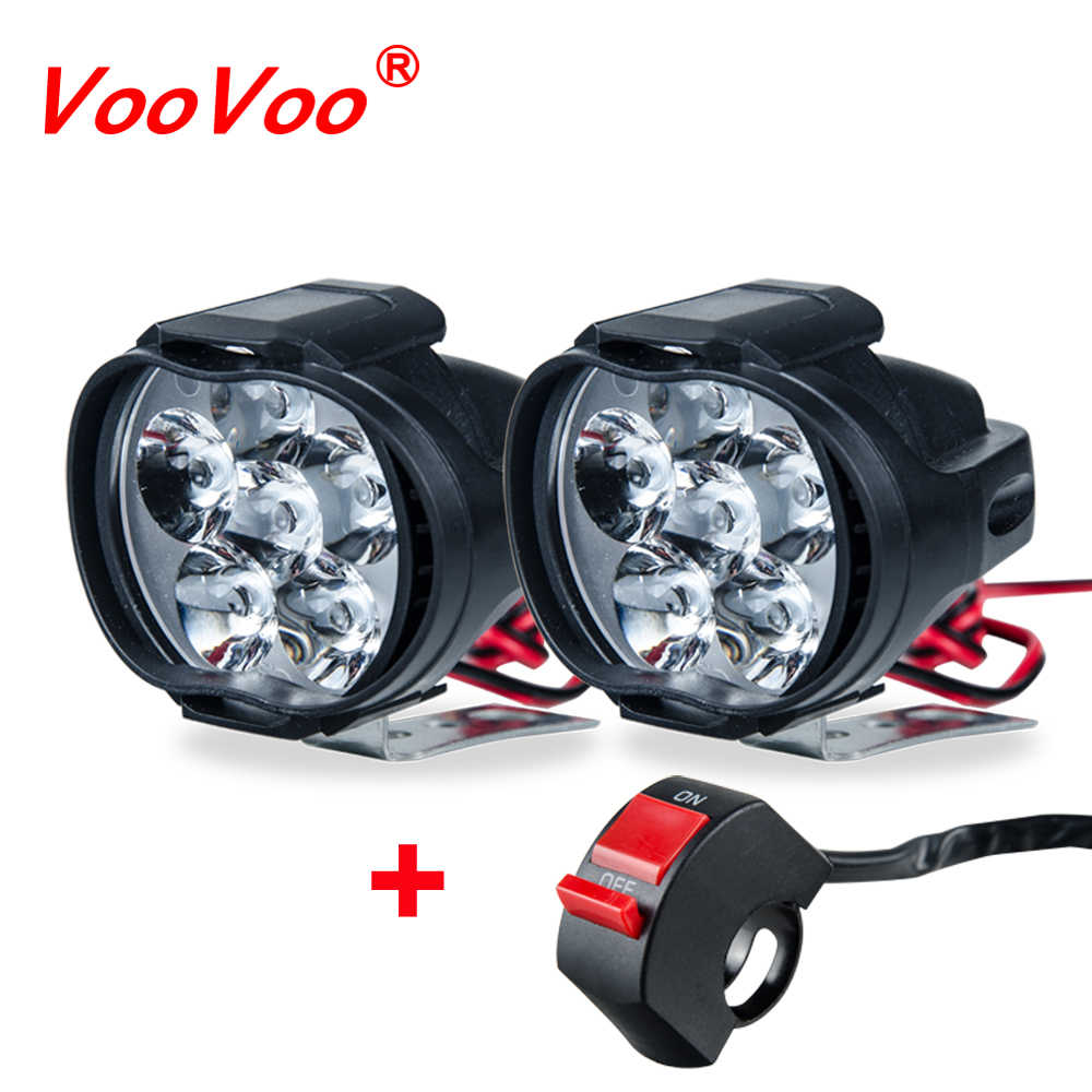 VooVoo 2PCS Universal Motorcycle Light LED Moto Headlight Spotlight Assembly + Switch Faro Moto for Mopeds Scooters Motorbike