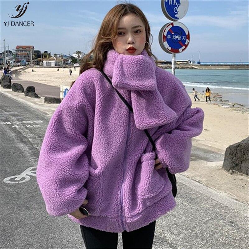 ec30818579f Cordero Engrosamiento Dulce 2018 yellow H0329 Pelo Mujer Cremallera Para  Purple Bufanda Piel Abrigo Larga Imitación ...