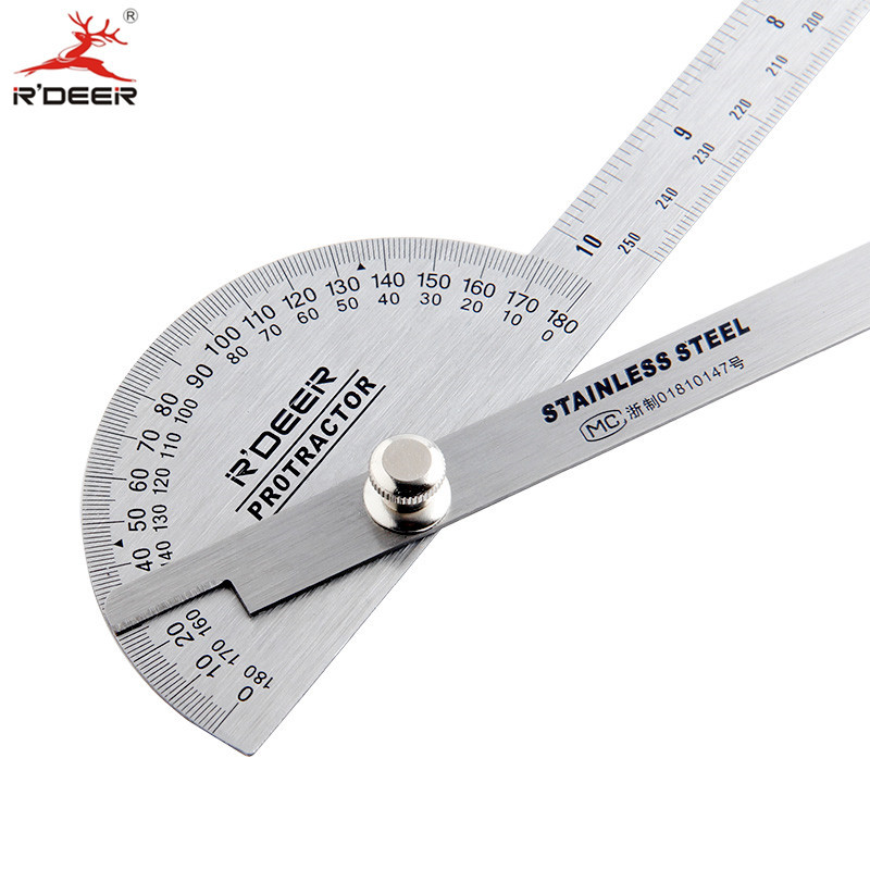 Length 250mm Multi-functional Ruler For Wood Working 180 Degrees Protractor