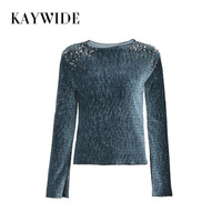 KAYWIDE 2017 Winter Women Tops Series Spring O Neck Long Sleeve Rivet Velvet Fashion Casual Slim