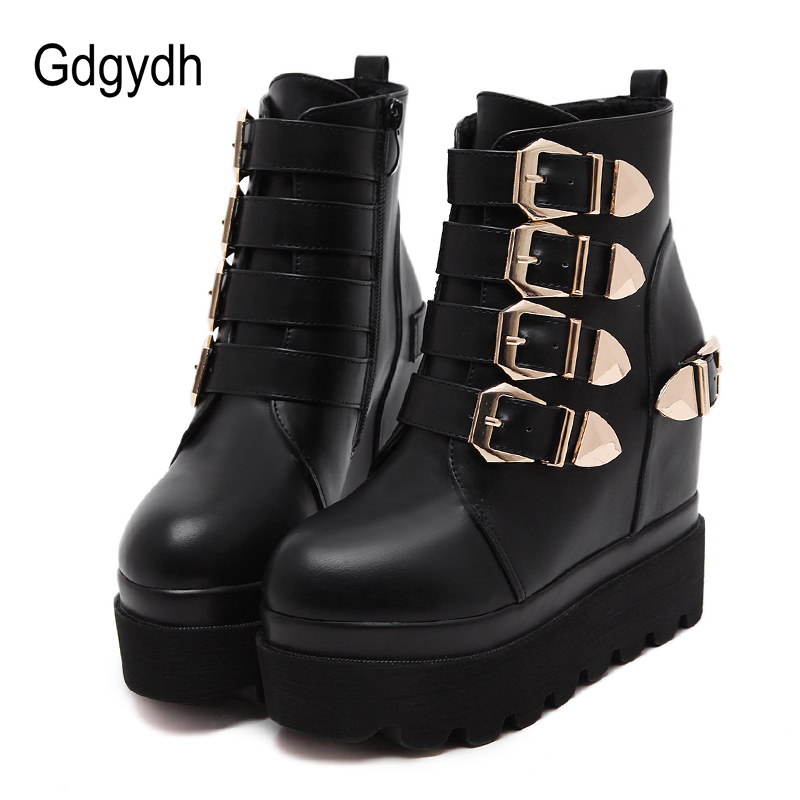 Gdgydh 2018 New Autumn Women Leather Ankle Boots Platform Black High Heels Buckle Platform Heels Buckle Ladies Shoes Size 34-39 portable cofoe yishu wheelchair full back rest folding galvanized steel scooter with pedestal pan for the aged 2018 newest