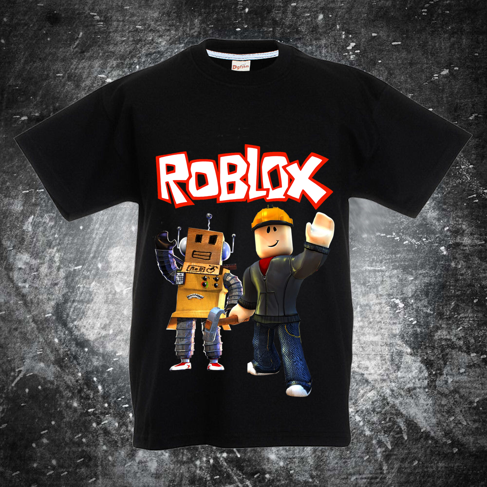a58907224f5cf 100%cotton T Shirts for Children Kids Boys Girls Clothes with Roblox and  roblox Gaming Pattern Minecraft Summer Funny Tee Top