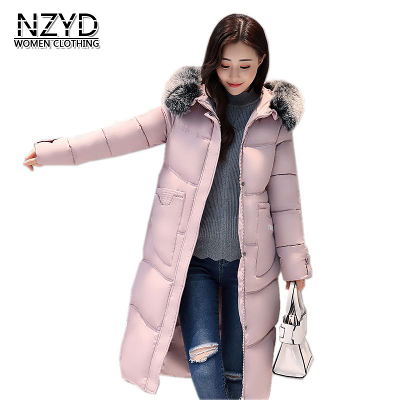 Winter Women Jacket 2018 New Style Hooded Fur collar Down Cotton Coat Fashion Thickening Warm Female Medium long Overcoat 680 thickening warm fur collar winter coat new 2016 women clothes lamb wool jacket hooded parka army green overcoat xl a3878