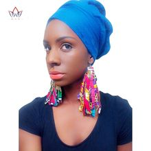BRW 2017 Fabric African Earrings for Women Handmade Jewelry Ankara Earrings with Tassel Ethnic African Print Drop Earrings WYB29