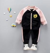 Children's Outfits 2019 Autumn Winter New Zipper Cartoon Print Baby Suit for 1-4 Y Kids Jacket Baby Pants 2Pcs Set SY-F185206