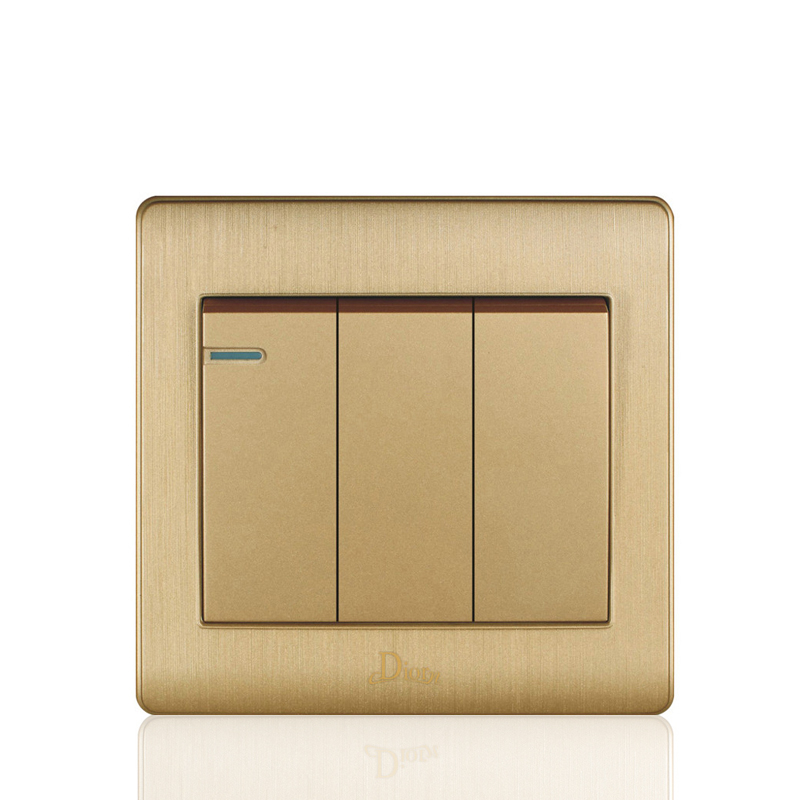 Uk Standard Gold Light Switch And 3 Gang 2 Way Wall Switch