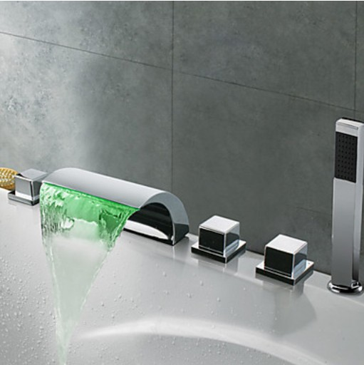 LED Light Waterfall Spout Faucets Bathtub Filler Faucet 3 Knobs Mixer Tap with Handheld Spray Chrome Taps