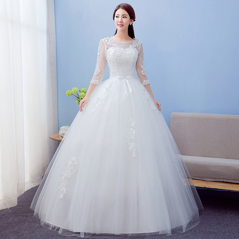 2017 Best Selling Ball Gown Lace Tulle Red Ivory Three Quarter ...