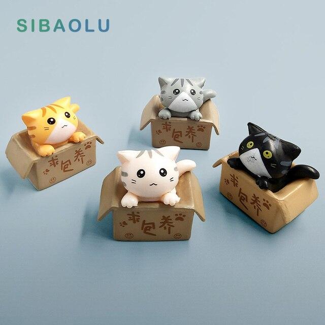 Kawaii Dessert Cat miniature garden furniture Figurine animal home decoration accessories Decor fairy resin craft Bonsai toys