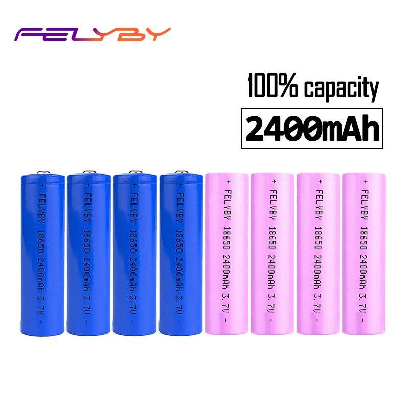 FELYBY 100% Véritable 8 pièces Bleu Rose Sécurité 2400 mAh 3.7 V 18650 batterie rechargeable au lithium avec chargeur usb