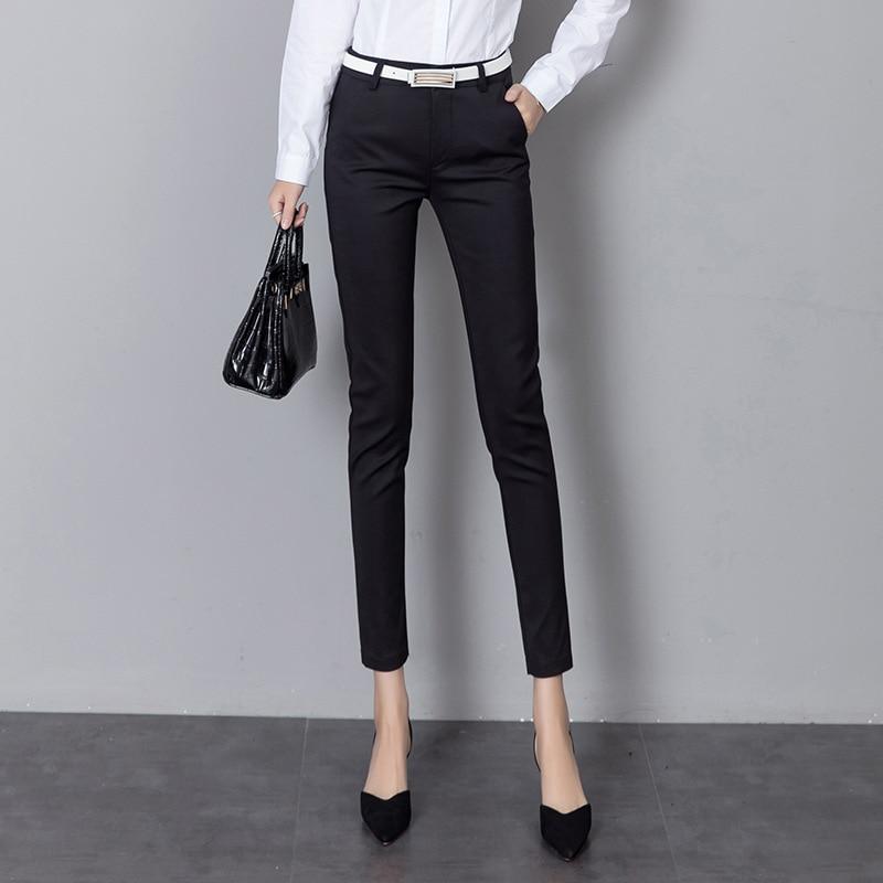 Women Formal Business Office Wear Leggings Solid Color
