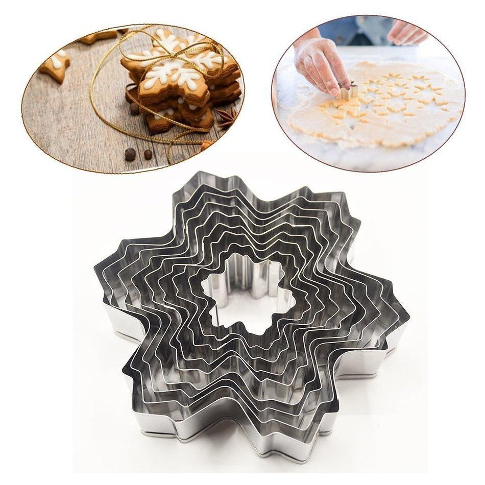 9pocs set stainless steel snowflake fondant cake molds for Baking decoration