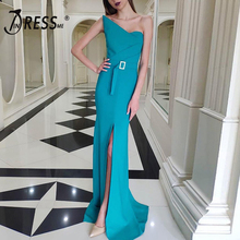 INDRESSME 2019 New Asymmetrical Neckline Strapless Sashes With Buckle Slit Maxi Dress Charming Party