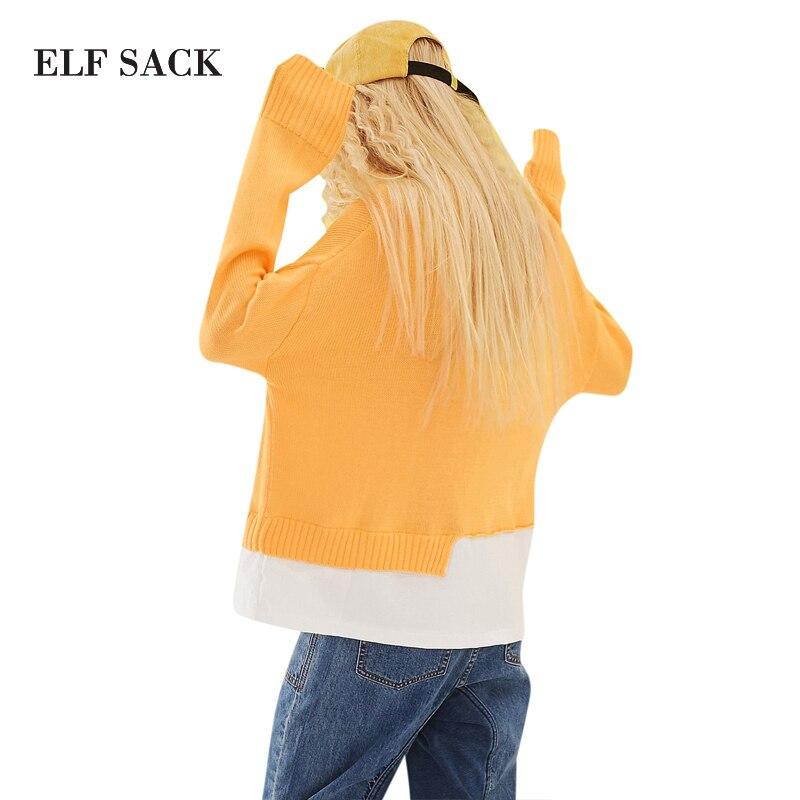 Mujer Irregular De Las Primavera orange Suéteres Dulce Falsa Saco Dos Punto Elegante Tops Piezas Elf Dobladillo Mujeres Costura Grey nq74HvnF