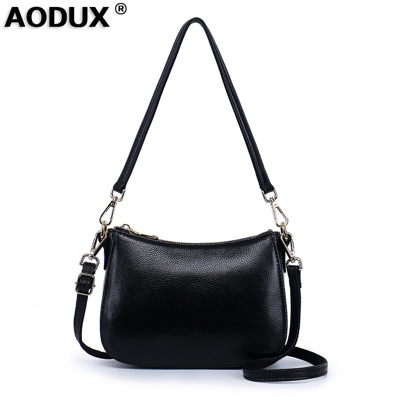 AODUX Small 100% Genuine Leather First Layer Cow Leather Women Crossbody Shoulder Bag Handbags Messenger Cross body Shopping Bag bag female new genuine leather handbags first layer of leather shoulder bag korean zipper small square bag mobile messenger bags